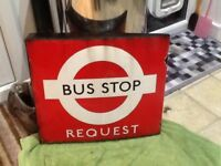 Vintage london bus stop request enamel sign d/ sided red