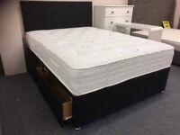 Grey or black divan bed with mattress