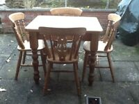 Pine table and 4 chairs, handmade, good condition