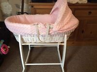 Beautiful pink dimple white wicker moses basket and rocker stand