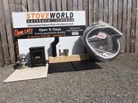 BEST STOVE DEAL IN THE WORLD !!!! complete stove pack flue hearths multi fuel stove FREE DELIVERY