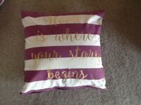 2 purple and cream cushions with gold lettering new