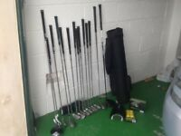 Set of left-handed golf clubs and three right-handed cubs