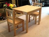 Child wooden table & 2 chairs, suitable for 2-5 year old