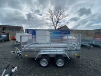 BRAND NEW MODEL 8.2 X 4.3 DOUBLE AXLE MASTER BRAKED TRAILER WITH 60CM MESH AND A RAMP 1300KG