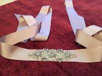 Rhinestone dusky pink/ mauve wedding belt/ sash