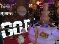 CHOCOLATE FOUNTAIN HIRE and CANDY FLOSS Manchester birthdays weddings parties proms christenings