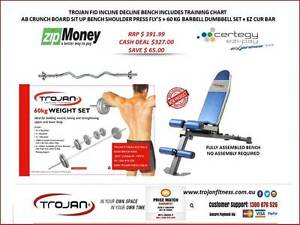 Exercise Bench FID + 60 Kg Barbell Dumbbell Set + Ez Curl Bar Joondalup Joondalup Area Preview