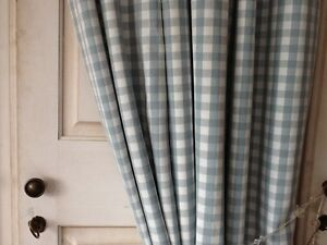 LAURA ASHLEY GINGHAM CHECK DUCKEGG CURTAINS - NEW 100