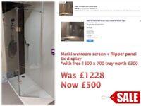 Matki wetroom shower panel with flipper panel