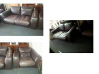 BARKER AND STONEHOUSE INCANTO RANGE MADE IN ITALY 2 X 2 SEATER SOFAS AND FREE CHAIR BROWN LEATHER