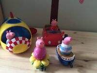 Toys. Peppa Pig Weebles Rocket, Car, boat and flower.