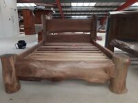 Double Solid Wood Bed Frame