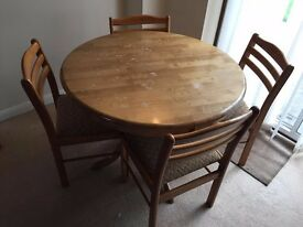 Round dining table with 4 chairs, collection only