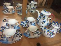 Stunning peacock design tea set for sale