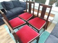 4 x Dark wood chairs reupholstered in Red Velvet with liners