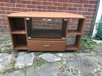 TV TABLE WITH GLASS FRONTED DOORS AND DRAWER 3ft LONG