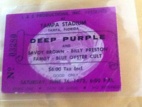 DEEP PURPLE 1973 Original__CONCERT TICKET STUB__TAMPA FLORIDA