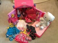 Build a bear huge bundle, including wardrobe, clothes and bed
