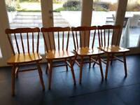 Set of 4 Country Pine Kitchen Farmhouse Chairs