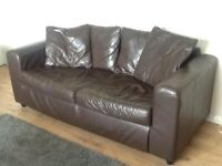 *FREE* 3 Seater Brown Leather Sofa