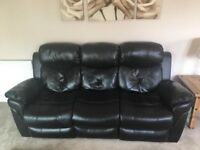 3+2 Black Leathaire Reclining Sofas 11 Mths Old - Pocket Sprung Good Cond Cost £900 New Sell £400