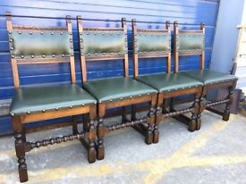 SET OF FOUR VINTAGE OAK AND LEATHER DINING CHAIRS - ANTIQUE VINTAGE RETRO