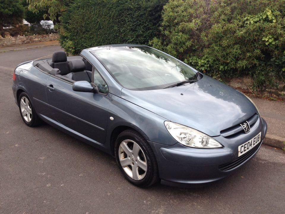 2004 04 reg peugeot 307 cc 2 0 convertible petrol 3 door manual metallic grey just 1 lady. Black Bedroom Furniture Sets. Home Design Ideas