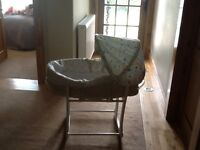New born baby crib. , floral hood. Complete with stand.