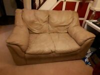 Free cream faux leather sofa