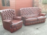 Leather chesterfield suite 2 seater and 1 chair very good condition £499 can deliver free locally