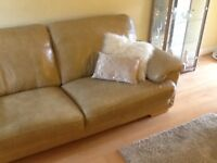 LARGE LEATHER SETTEE in caramel/sand colour