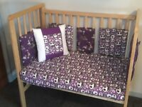 Space saver Cot, next to me Cot with hand made sheet & Bumpers in Nightmare before Christmas fabric