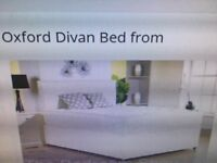 *REDUCED PRICE* BRAND NEW - double bed - oxford divan base - mattress - black faux leather headboard