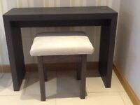 Unused, Ex-Show Home, Beautiful, Modern, Dark Wood, Console Table With Matching Stool