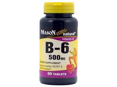 60 TABLETS VITAMIN B 6 500MG Maintains healthy HEART & NERVE function PYRIDOXINE