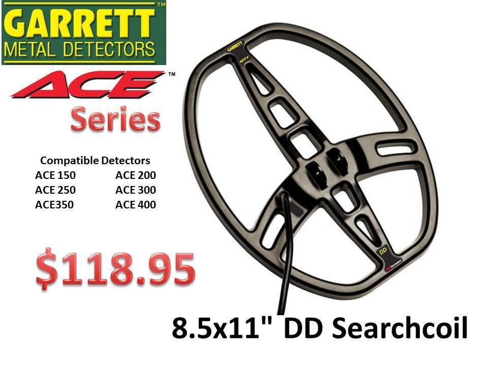 "Garrertt ACE Series 8.5x11"" DD Coil ""Great Depth & Target Seperation"" Ships FREE"