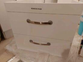 Wall mounted White gloss vanity unit (no sink)