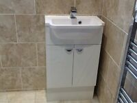 Utility basin cabinet and basin. Gloss white.