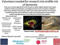 Female volunteers needed for research into midlife risk of dementia