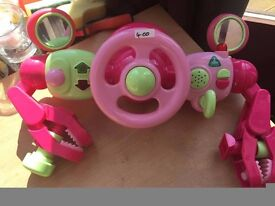 elc pink buggy universal fitting steering wheel and activity toy with batteries