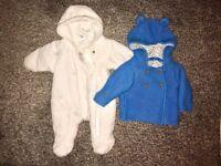 newborn - next white snowsuit / M&S lined blue outdoor cardi