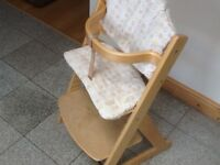 From Mothercare -solid wood highchair to bar stool height adjustable & interchangeable seat plates