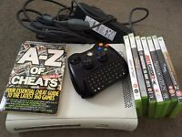 Xbox 360, controller, 7 games, cheats book & chatpad