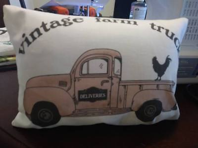 rooster Farm truck Pillow farmtruck vintage market ford shabby rose antique  Antique Rose Farm