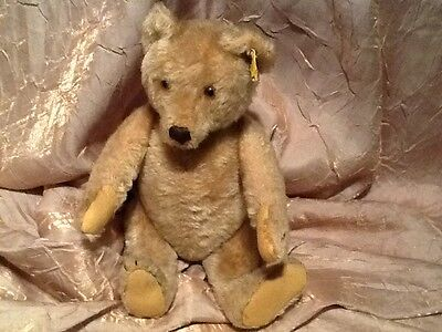 RARE ANTIQUE JOINTED STITCHED NOSE GLASS EYES BLONDE MOHAIR STEIFF TEDDY BEAR NO