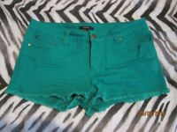 GREEN SHORTS FOREVER 21 SIZE 16/18 HOLIDAY OR CLUBBING HAVE MORE SHORTS FOR SALE