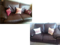 BROWN LEATHER 3 SEATER AND 2 SEATER CHUNKY LEATHER SOFAS ORIGINALLY PURCHASED FROM LAND OF LEATHER