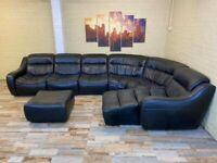 Deep Plush Black Modular Leather Corner Sofa