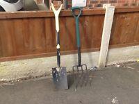 Garden fork and spade. Good garden spade and fork for sale.